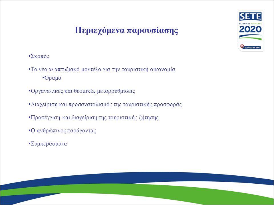 Περιεχόμενα παρουσίασης Σκοπός Το νέο αναπτυξιακό μοντέλο για την τουριστική οικονομία Όραμα Οργανωτικές και θεσμικές μεταρρυθμίσεις Διαχείριση και προσανατολισμός της τουριστικής προσφοράς Προσέγγιση και διαχείριση της τουριστικής ζήτησης Ο ανθρώπινος παράγοντας Συμπεράσματα
