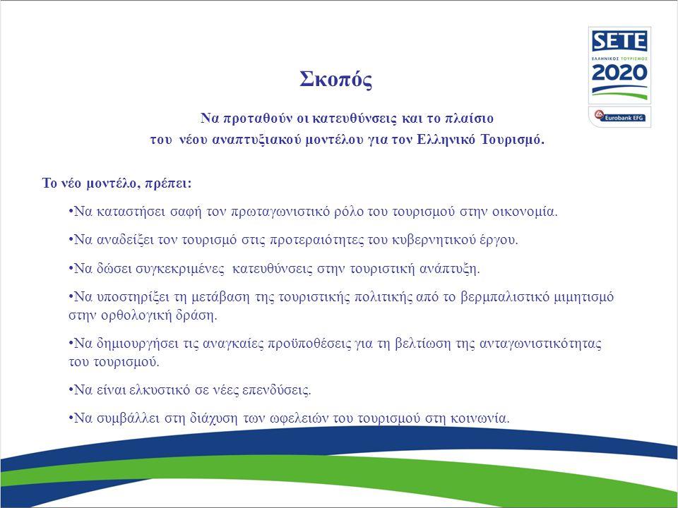 Σκοπός Να προταθούν οι κατευθύνσεις και το πλαίσιο του νέου αναπτυξιακού μοντέλου για τον Ελληνικό Τουρισμό.
