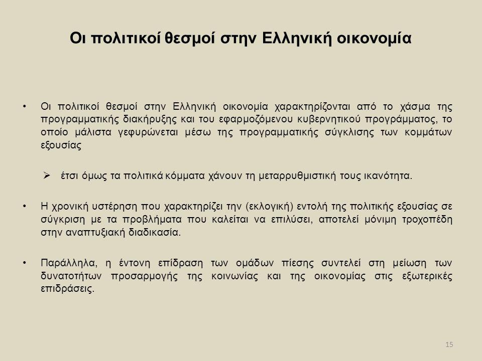 15 Οι πολιτικοί θεσμοί στην Ελληνική οικονομία Οι πολιτικοί θεσμοί στην Ελληνική οικονομία χαρακτηρίζονται από το χάσμα της προγραμματικής διακήρυξης και του εφαρμοζόμενου κυβερνητικού προγράμματος, το οποίο μάλιστα γεφυρώνεται μέσω της προγραμματικής σύγκλισης των κομμάτων εξουσίας  έτσι όμως τα πολιτικά κόμματα χάνουν τη μεταρρυθμιστική τους ικανότητα.