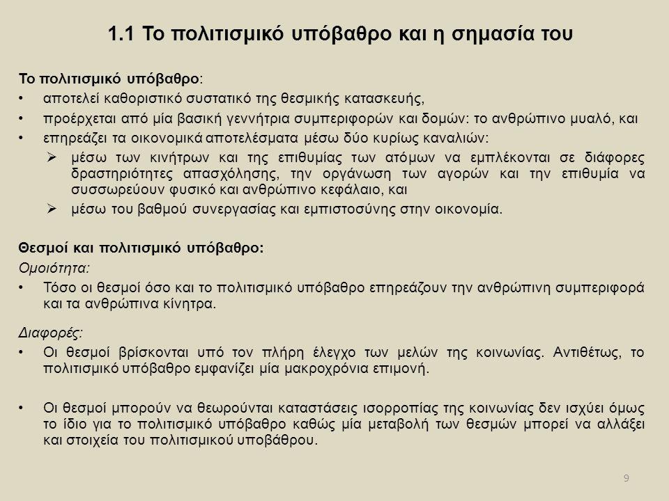 9 1.1 Το πολιτισμικό υπόβαθρο και η σημασία του Το πολιτισμικό υπόβαθρο: αποτελεί καθοριστικό συστατικό της θεσμικής κατασκευής, προέρχεται από μία βασική γεννήτρια συμπεριφορών και δομών: το ανθρώπινο μυαλό, και επηρεάζει τα οικονομικά αποτελέσματα μέσω δύο κυρίως καναλιών:  μέσω των κινήτρων και της επιθυμίας των ατόμων να εμπλέκονται σε διάφορες δραστηριότητες απασχόλησης, την οργάνωση των αγορών και την επιθυμία να συσσωρεύουν φυσικό και ανθρώπινο κεφάλαιο, και  μέσω του βαθμού συνεργασίας και εμπιστοσύνης στην οικονομία.