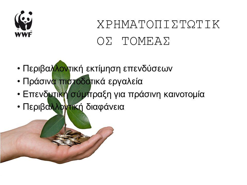 ΧΡΗΜΑΤΟΠΙΣΤΩΤΙΚ ΟΣ ΤΟΜΕΑΣ Περιβαλλοντική εκτίμηση επενδύσεων Πράσινα πιστοδοτικά εργαλεία Επενδυτική σύμπραξη για πράσινη καινοτομία Περιβαλλοντική διαφάνεια