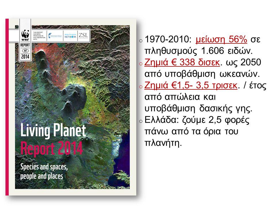 o 1970-2010: μείωση 56% σε πληθυσμούς 1.606 ειδών.
