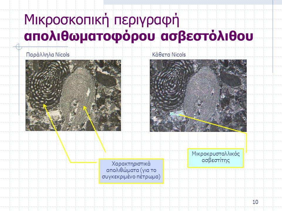 10 Μικροσκοπική περιγραφή απολιθωματοφόρου ασβεστόλιθου Παράλληλα NicolsΚάθετα Nicols Χαρακτηριστικά απολιθώματα (για το συγκεκριμένο πέτρωμα) Μικροκρυσταλλικός ασβεστίτης