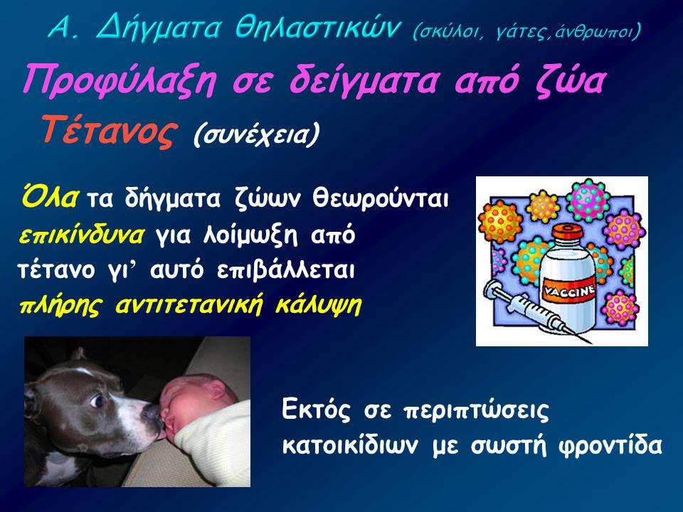 Προφύλαξη σε δείγματα από ζώα Τέτανος (συνέχεια) Όλα τα δήγματα ζώων θεωρούνται επικίνδυνα για λοίμωξη από τέτανο γι ' αυτό επιβάλλεται πλήρης αντιτετ