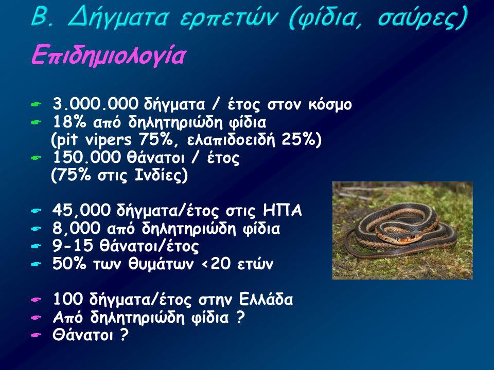 Επιδημιολογία  3.000.000 δήγματα / έτος στον κόσμο  18% από δηλητηριώδη φίδια (pit vipers 75%, ελαπιδοειδή 25%)  150.000 θάνατοι / έτος (75% στις Ι