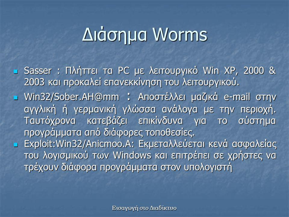 Εισαγωγή στο Διαδίκτυο Διάσημα Worms Sasser : Πλήττει τα PC με λειτουργικό Win XP, 2000 & 2003 και προκαλεί επανεκκίνηση του λειτουργικού.