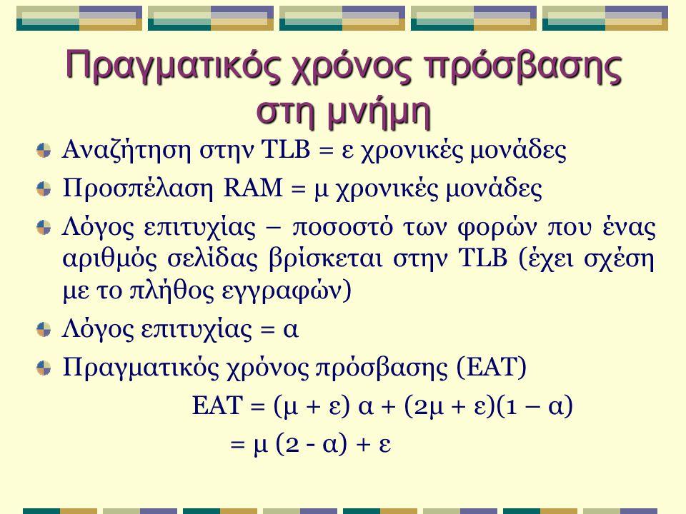 Πραγματικός χρόνος πρόσβασης στη μνήμη Αναζήτηση στην TLB = ε χρονικές μονάδες Προσπέλαση RAM = μ χρονικές μονάδες Λόγος επιτυχίας – ποσοστό των φορών που ένας αριθμός σελίδας βρίσκεται στην TLB (έχει σχέση με το πλήθος εγγραφών) Λόγος επιτυχίας = α Πραγματικός χρόνος πρόσβασης (EAT) EAT = (μ + ε) α + (2μ + ε)(1 – α) = μ (2 - α) + ε