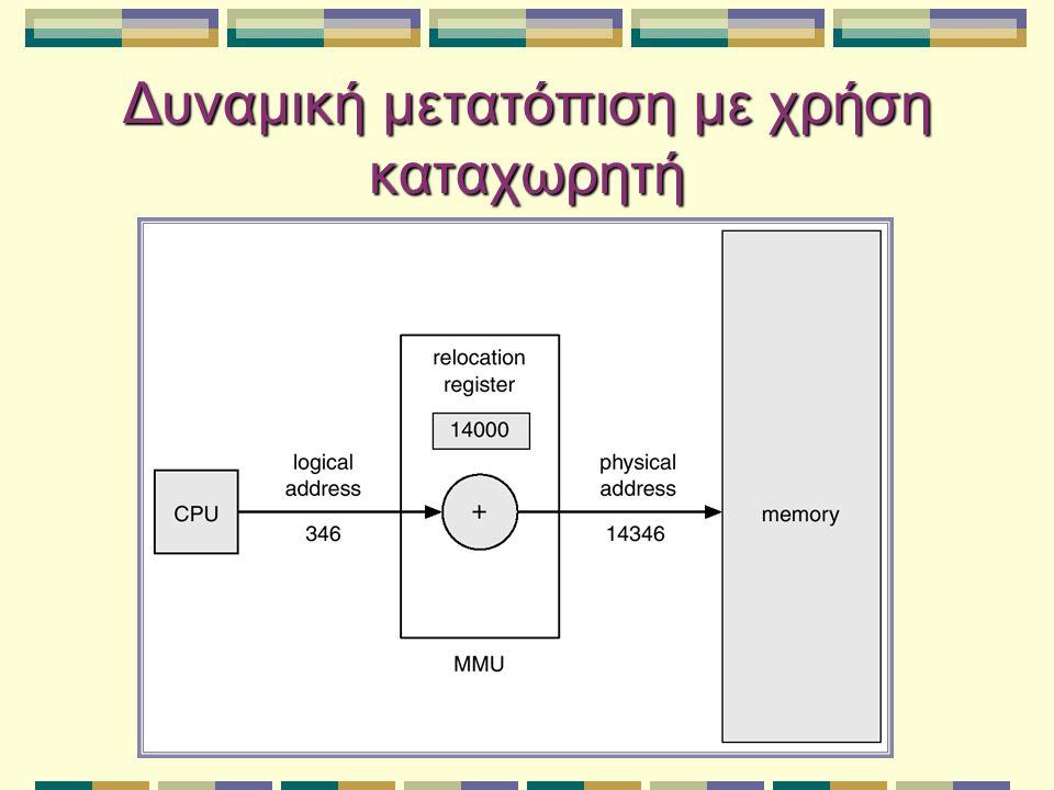 Εναλλαγή Μια διεργασία μπορεί να εναλλαγεί προσωρινά εκτός μνήμης σε μια δευτερεύουσα αποθήκευση, και μετά να ξαναμεταφερθεί στη μνήμη για περαιτέρω εκτέλεση Δευτερεύουσα αποθήκευση – γρήγορος δίσκος αρκετά μεγάλος ώστε να αποθηκεύει αντίγραφα όλων των εικόνων μνήμης για όλους τους χρήστες (άμεση πρόσβαση) Roll out, roll in: παραλλαγή για δρομολόγηση βασισμένη σε προτεραιότητες Χρόνος εναλλαγής είναι κυρίως χρόνος μεταφοράς (ευθέως ανάλογος του ποσού μνήμης που εναλλάσσεται)