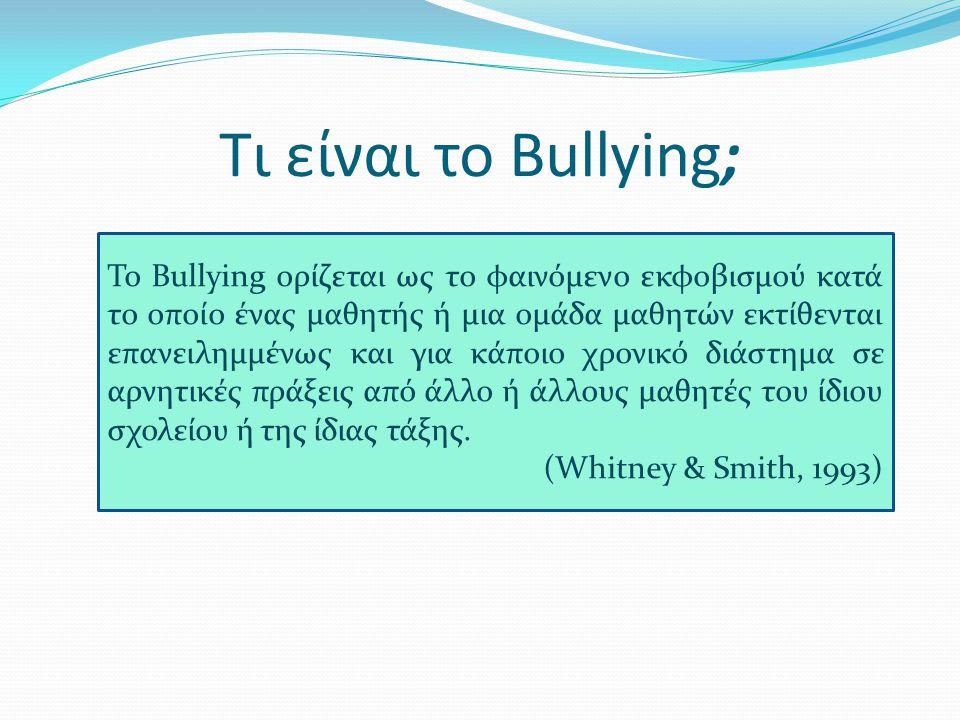Διεθνές τοπίο – Ερευνητικά Δεδομένα Περίπου το 50% των μαθητών έχουν υποστεί κάποιας μορφής bullying από τους συνομήλικους τους ενώ ήταν στο σχολείο και περίπου το 10% αυτής της εμπειρίας ήταν σε μόνιμη βάση Σε γενικό πλαίσιο αγόρια και κορίτσια έχουν ίσες πιθανότητες να πέσουν θύματα bullying (Crick & Bigbee, 1998 Peterson & Rigby, 1999) Τα αγόρια χρησιμοποιούν περισσότερο τη σωματική μορφή bullying (Κyriakides, et.al.2006), ενώ τα κορίτσια παρενοχλούν με έμμεσο τρόπο τα θύματά τους χρησιμοποιώντας το λεκτικό εκφοβισμό και τον κοινωνικό αποκλεισμό-απομόνωση (Naylor, et.al., 2006).Naylor,