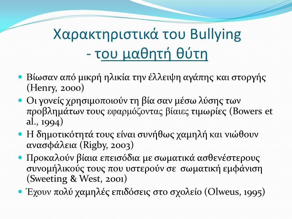Χαρακτηριστικά του Bullying - του μαθητή θύματος Ε ίναι συνήθως σωματικά ασθενέστεροι από τα υπόλοιπα παιδιά.