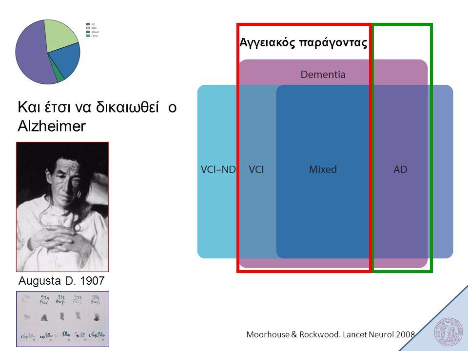 Moorhouse & Rockwood. Lancet Neurol 2008 Αγγειακός παράγοντας Και έτσι να δικαιωθεί o Alzheimer Augusta D. 1907