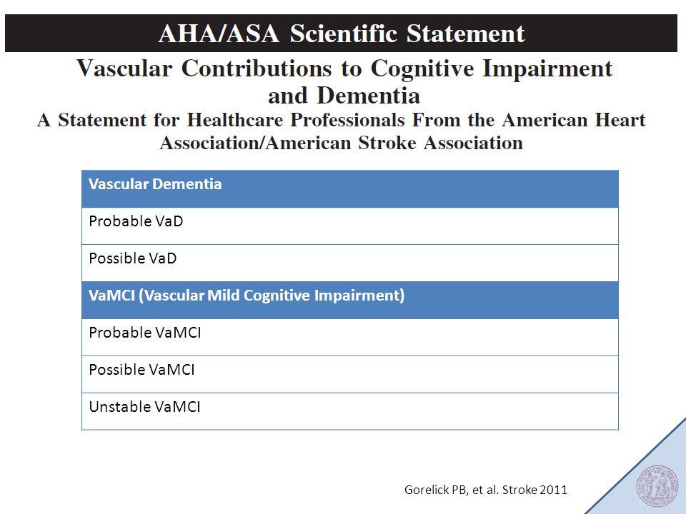 Gorelick PB, et al. Stroke 2011 Vascular Dementia Probable VaD Possible VaD VaMCI (Vascular Mild Cognitive Impairment) Probable VaMCI Possible VaMCI U