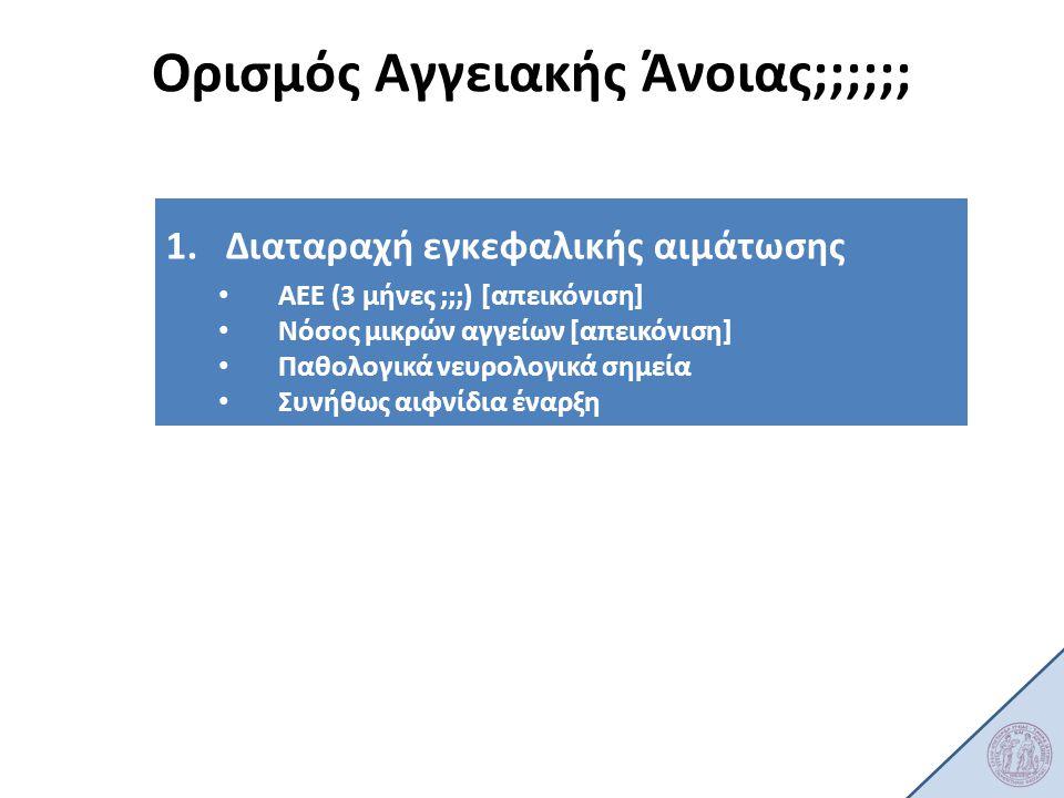 1.Διαταραχή εγκεφαλικής αιμάτωσης ΑΕΕ (3 μήνες ;;;) [απεικόνιση] Νόσος μικρών αγγείων [απεικόνιση] Παθολογικά νευρολογικά σημεία Συνήθως αιφνίδια έναρ