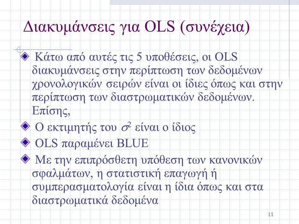 11 Διακυμάνσεις για OLS (συνέχεια) Κάτω από αυτές τις 5 υποθέσεις, οι OLS διακυμάνσεις στην περίπτωση των δεδομένων χρονολογικών σειρών είναι οι ίδιες