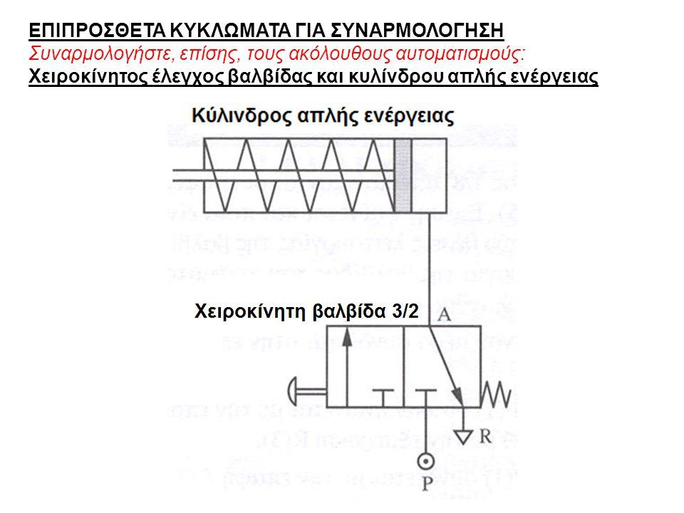 ΕΠΙΠΡΟΣΘΕΤΑ ΚΥΚΛΩΜΑΤΑ ΓΙΑ ΣΥΝΑΡΜΟΛΟΓΗΣΗ Συναρμολογήστε, επίσης, τους ακόλουθους αυτοματισμούς: Χειροκίνητος έλεγχος βαλβίδας και κυλίνδρου απλής ενέργειας