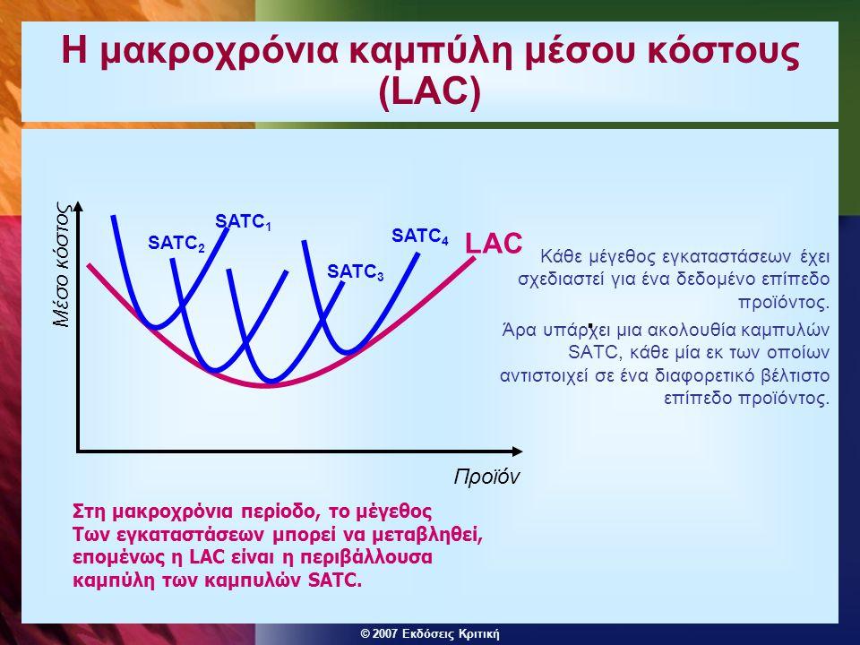 © 2007 Εκδόσεις Κριτική Η μακροχρόνια καμπύλη μέσου κόστους (LAC) Κάθε μέγεθος εγκαταστάσεων έχει σχεδιαστεί για ένα δεδομένο επίπεδο προϊόντος. Άρα υ