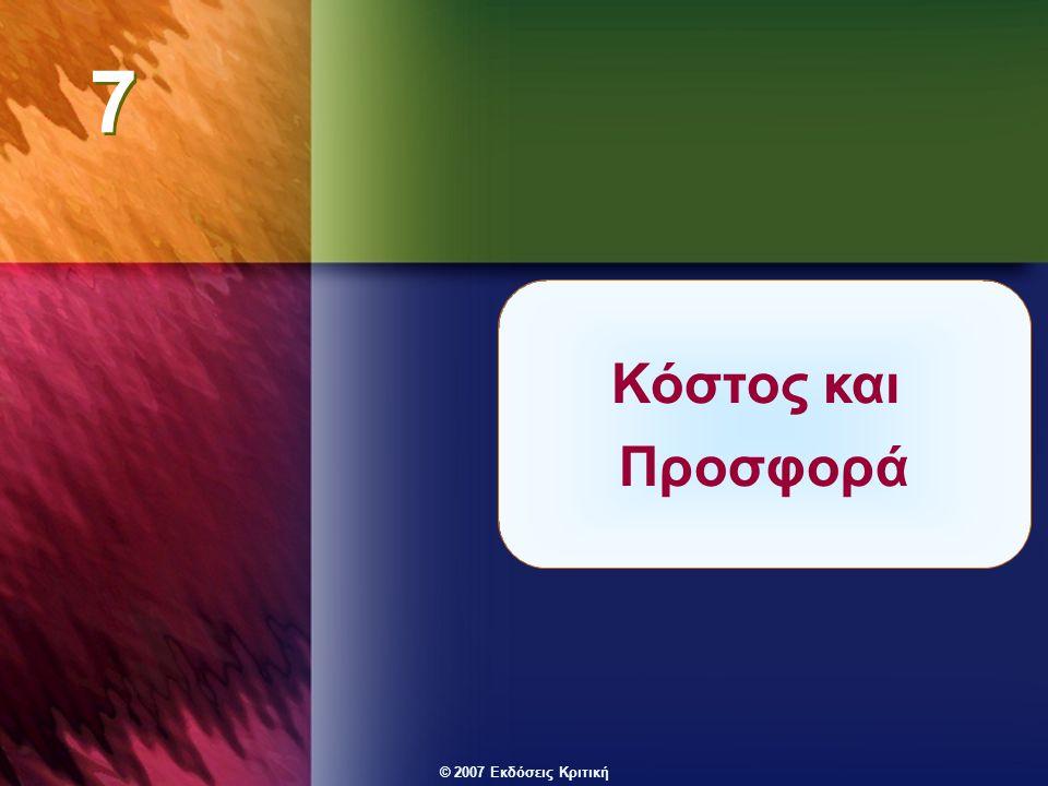 © 2007 Εκδόσεις Κριτική Επιλέγοντας το επίπεδο προϊόντος ΚΟΣΤΟΣ ΕΣΟΔΑ Τεχνολογία και κόστος χρήσης παραγωγικών συντελεστών Καμπύλες συνολικού κόστους (βραχυχρόνιες και μακροχρόνιες ) Καμπύλες μέσου κόστους (βραχυχρόνιες και μακροχρόνιες) Οριακό κόστος Καμπύλη ζήτησης Καμπύλη μέσου εσόδου Οριακό έσοδο Έλεγχοι: Αν πρέπει να παράγει βραχυχρόνια.