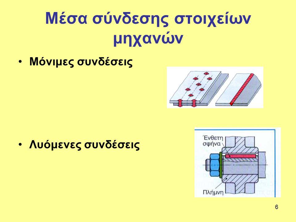 6 Μέσα σύνδεσης στοιχείων μηχανών Μόνιμες συνδέσεις Λυόμενες συνδέσεις