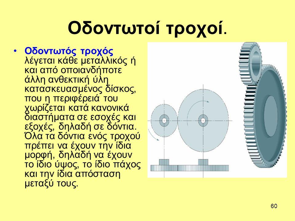 60 Οδοντωτός τροχός λέγεται κάθε μεταλλικός ή και από οποιανδήποτε άλλη ανθεκτική ύλη κατασκευασμένος δίσκος, που η περιφέρειά του χωρίζεται κατά κανο