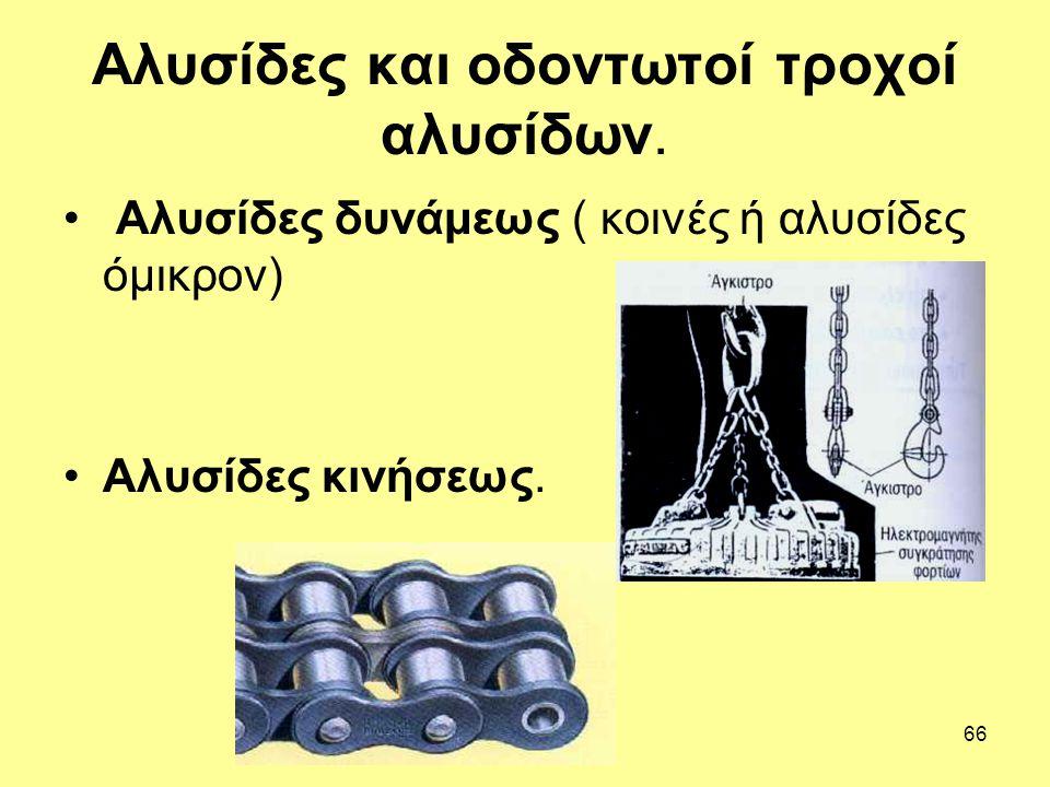 66 Αλυσίδες και οδοντωτοί τροχοί αλυσίδων. Αλυσίδες δυνάμεως ( κοινές ή αλυσίδες όμικρον) Αλυσίδες κινήσεως.