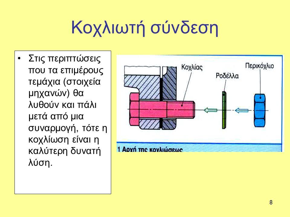 8 Κοχλιωτή σύνδεση Στις περιπτώσεις που τα επιμέρους τεμάχια (στοιχεία μηχανών) θα λυθούν και πάλι μετά από μια συναρμογή, τότε η κοχλίωση είναι η καλύτερη δυνατή λύση.