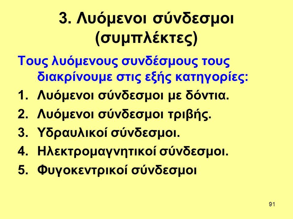 91 3. Λυόμενοι σύνδεσμοι (συμπλέκτες) Τους λυόμενους συνδέσμους τους διακρίνουμε στις εξής κατηγορίες: 1.Λυόμενοι σύνδεσμοι με δόντια. 2.Λυόμενοι σύνδ