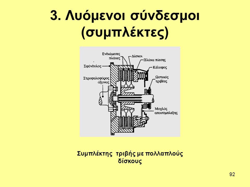 92 3. Λυόμενοι σύνδεσμοι (συμπλέκτες) Συμπλέκτης τριβής με πολλαπλούς δίσκους