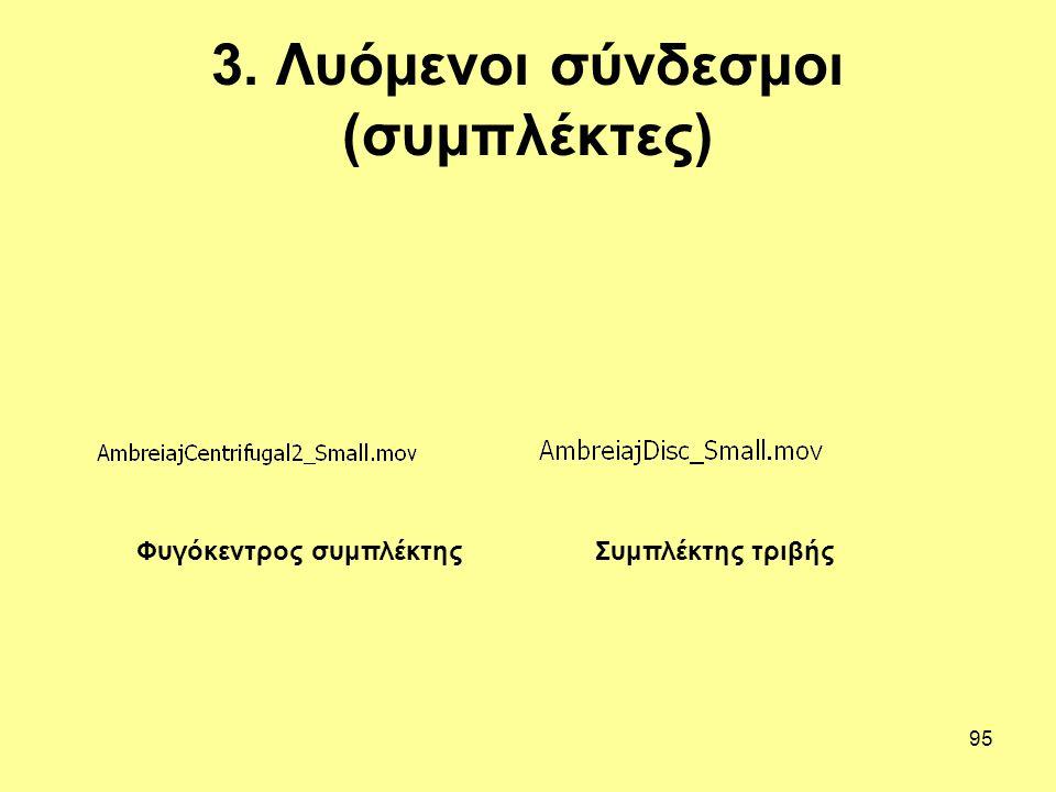 95 3. Λυόμενοι σύνδεσμοι (συμπλέκτες) Φυγόκεντρος συμπλέκτηςΣυμπλέκτης τριβής