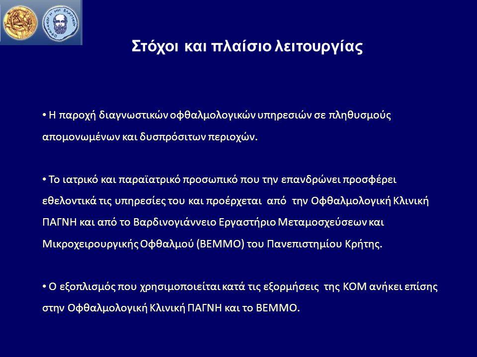 Ιστορική αναδρομή Ήδη από τις αρχές της δεκαετίας του 1990 πραγματοποιήθηκαν εξορμήσεις σε πολλές περιοχές εντός Κρήτης Tα αποτελέσματα από τις πρώτες εξορμήσεις της ΚΟΜ απετέλεσαν τη βάση για την εκπόνηση πολύ αξιόλογων διδακτορικών διατριβών, όπως η διερεύνηση της επιδημιολογίας του συνδρόμου ψευδοαποφολίδωσης στην Κρήτη (από τον καθηγητή κ.