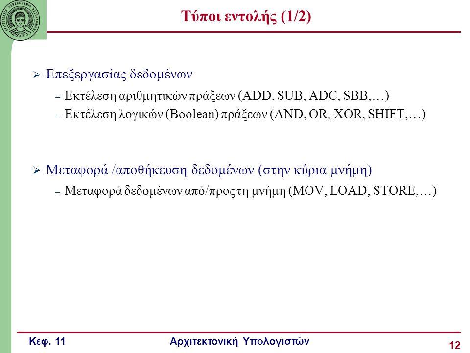 Κεφ. 11 Αρχιτεκτονική Υπολογιστών 12 Τύποι εντολής (1/2)  Επεξεργασίας δεδομένων – Εκτέλεση αριθμητικών πράξεων (ADD, SUB, ADC, SBB,…) – Εκτέλεση λογ
