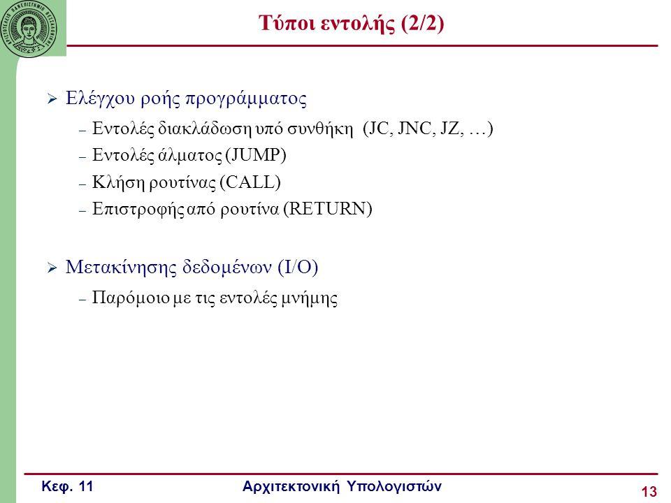 Κεφ. 11 Αρχιτεκτονική Υπολογιστών 13 Τύποι εντολής (2/2)  Ελέγχου ροής προγράμματος – Εντολές διακλάδωση υπό συνθήκη (JC, JNC, JZ, …) – Εντολές άλματ