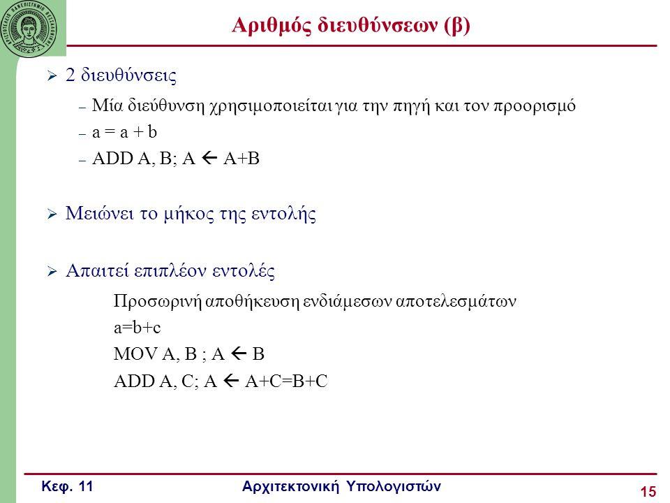 Κεφ. 11 Αρχιτεκτονική Υπολογιστών 15  2 διευθύνσεις – Μία διεύθυνση χρησιμοποιείται για την πηγή και τον προορισμό – a = a + b – ADD A, B; A  A+B 