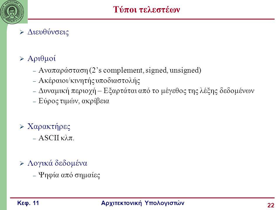 Κεφ. 11 Αρχιτεκτονική Υπολογιστών 22 Τύποι τελεστέων  Διευθύνσεις  Αριθμοί – Αναπαράσταση (2's complement, signed, unsigned) – Ακέραιοι/κινητής υποδ