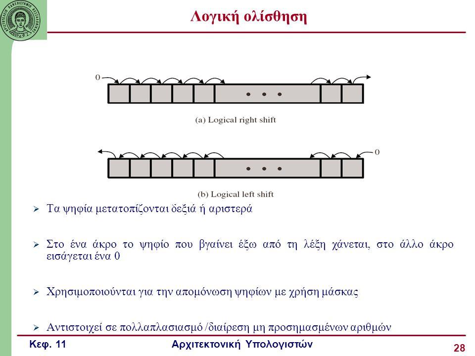 Κεφ. 11 Αρχιτεκτονική Υπολογιστών 28 Λογική ολίσθηση  Τα ψηφία μετατοπίζονται δεξιά ή αριστερά  Στο ένα άκρο το ψηφίο που βγαίνει έξω από τη λέξη χά