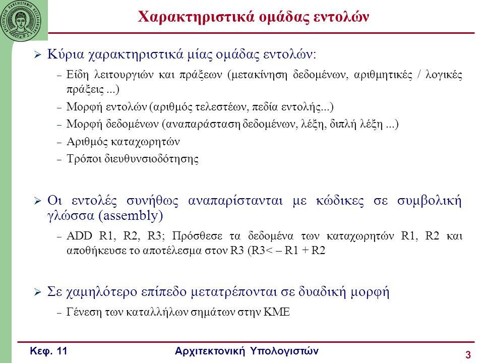 Κεφ. 11 Αρχιτεκτονική Υπολογιστών 3 Χαρακτηριστικά ομάδας εντολών  Κύρια χαρακτηριστικά μίας ομάδας εντολών: – Είδη λειτουργιών και πράξεων (μετακίνη