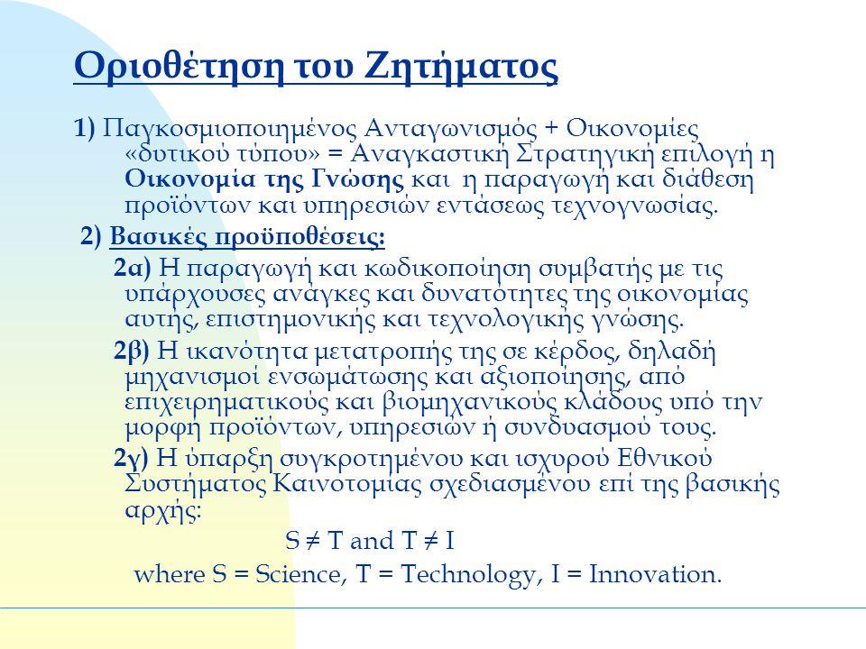 Οριοθέτηση του Ζητήματος 1) Παγκοσμιοποιημένος Ανταγωνισμός + Οικονομίες «δυτικού τύπου» = Αναγκαστική Στρατηγική επιλογή η Οικονομία της Γνώσης και η παραγωγή και διάθεση προϊόντων και υπηρεσιών εντάσεως τεχνογνωσίας.