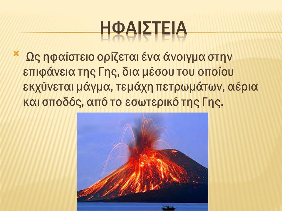  Ως ηφαίστειο ορίζεται ένα άνοιγμα στην επιφάνεια της Γης, δια μέσου του οποίου εκχύνεται μάγμα, τεμάχη πετρωμάτων, αέρια και σποδός, από το εσωτερικ