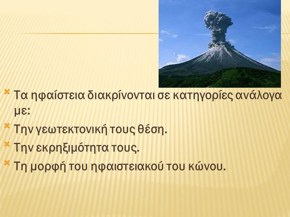 Τα ηφαίστεια διακρίνονται σε κατηγορίες ανάλογα με: Την γεωτεκτονική τους θέση. Την εκρηξιμότητα τους. Τη μορφή του ηφαιστειακού του κώνου.