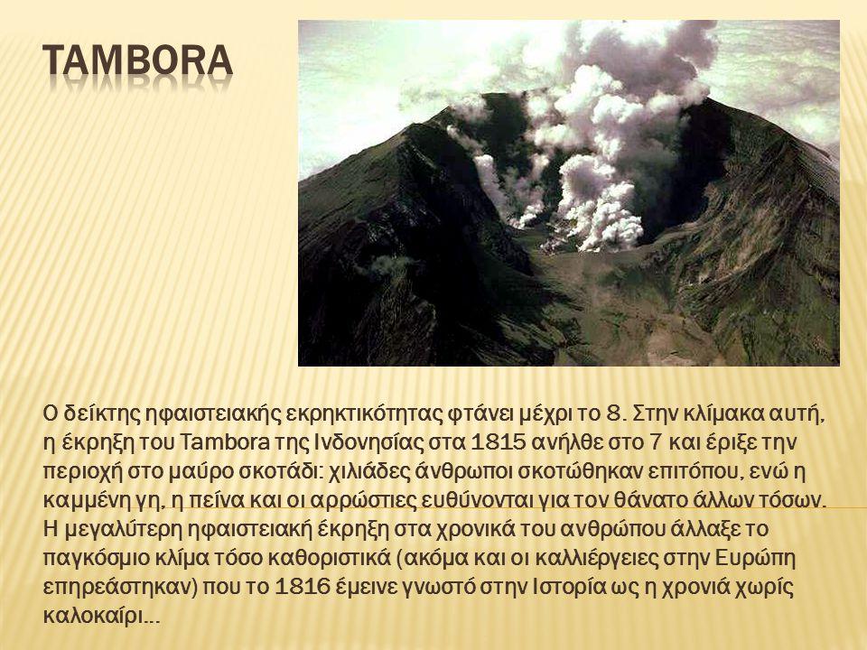 Ο δείκτης ηφαιστειακής εκρηκτικότητας φτάνει μέχρι το 8. Στην κλίμακα αυτή, η έκρηξη του Tambora της Ινδονησίας στα 1815 ανήλθε στο 7 και έριξε την πε