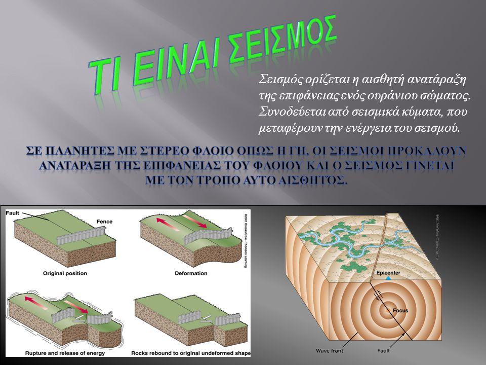 Σεισμός ορίζεται η αισθητή ανατάραξη της επιφάνειας ενός ουράνιου σώματος. Συνοδεύεται από σεισμικά κύματα, που μεταφέρουν την ενέργεια του σεισμού.