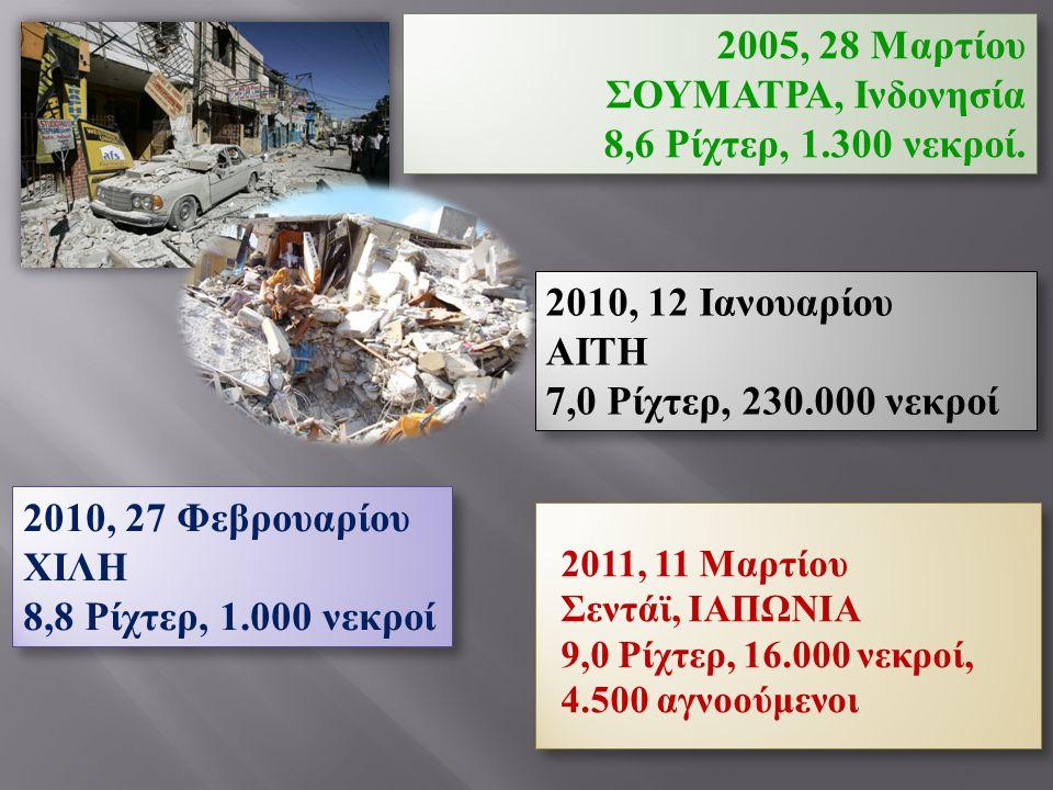 2011, 11 Μαρτίου Σεντάϊ, ΙΑΠΩΝΙΑ 9,0 Ρίχτερ, 16.000 νεκροί, 4.500 αγνοούμενοι 2011, 11 Μαρτίου Σεντάϊ, ΙΑΠΩΝΙΑ 9,0 Ρίχτερ, 16.000 νεκροί, 4.500 αγνοού