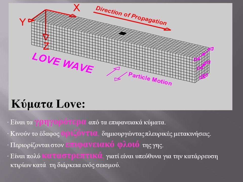 · E ίναι τα γρηγορότερα από τα επιφανειακά κύματα. · Κινούν το έδαφος οριζόντια, δημιουργώντας πλευρικές μετακινήσεις. · Περιορίζονται στον επιφανειακ