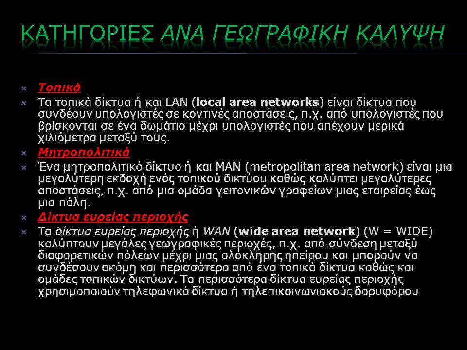  Τοπικά  Τα τοπικά δίκτυα ή και LAN (local area networks) είναι δίκτυα που συνδέουν υπολογιστές σε κοντινές αποστάσεις, π.χ.