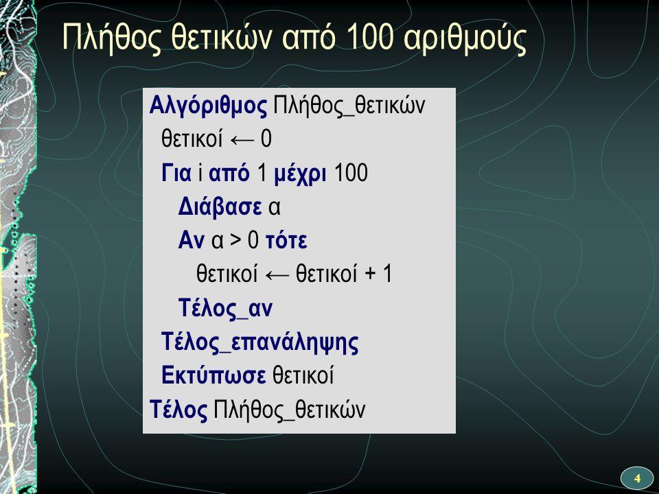4 Πλήθος θετικών από 100 αριθμούς Αλγόριθμος Πλήθος_θετικών θετικοί ← 0 Για i από 1 μέχρι 100 Διάβασε α Αν α > 0 τότε θετικοί ← θετικοί + 1 Τέλος_αν Τ