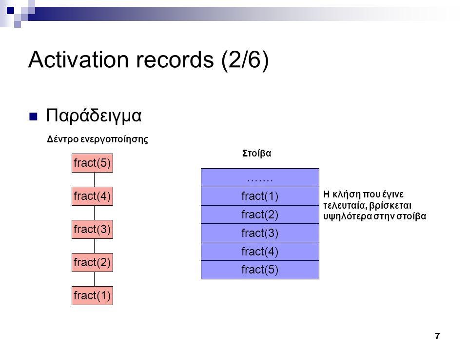 8 Activation records (3/6) Παράδειγμα (code) function f (x, y) { z = x * y; if (z == 10) { z = 1; } return z; } i = f (j, k); 1:funcstart f 2:mul x y z 3:if_eq z 10 5 4:jump 6 5:assign 1 z 6:return z 7:funcendf 8:param k 9:param j 10:call f 11:getretval _t1 12:assign _t1 i