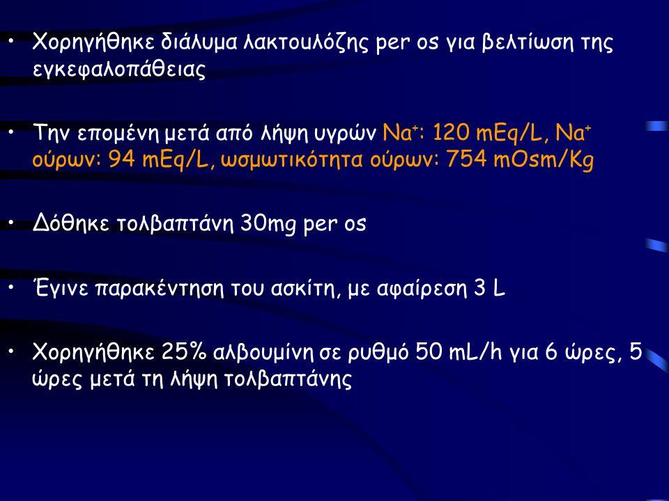 Χορηγήθηκε διάλυμα λακτouλόζης per os για βελτίωση της εγκεφαλοπάθειας Την επομένη μετά από λήψη υγρών Na + : 120 mEq/L, Na + ούρων: 94 mEq/L, ωσμωτικ