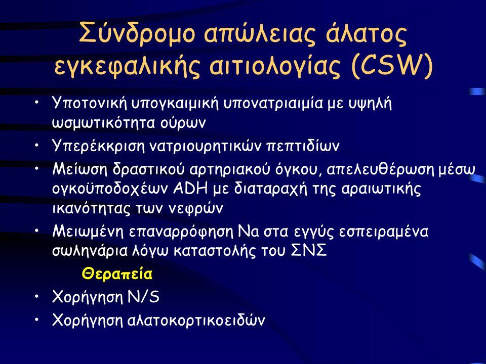 Σύνδρομο απώλειας άλατος εγκεφαλικής αιτιολογίας (CSW) Υποτονική υπογκαιμική υπονατριαιμία με υψηλή ωσμωτικότητα ούρων Υπερέκκριση νατριουρητικών πεπτ