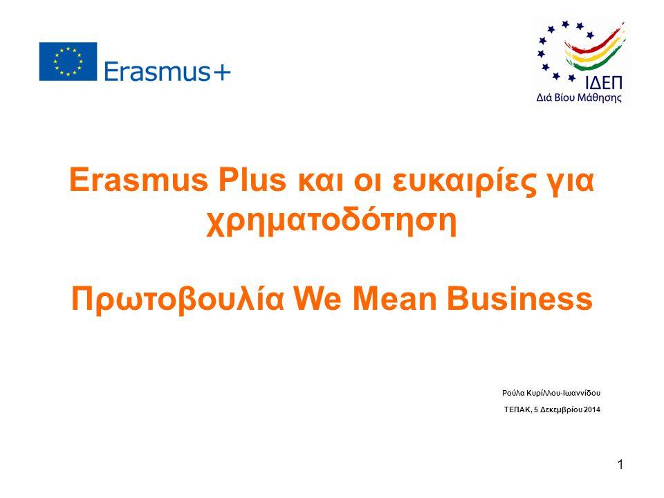 1 Ρούλα Κυρίλλου-Ιωαννίδου ΤΕΠΑΚ, 5 Δεκεμβρίου 2014 Erasmus Plus και οι ευκαιρίες για χρηματοδότηση Πρωτοβουλία We Mean Business