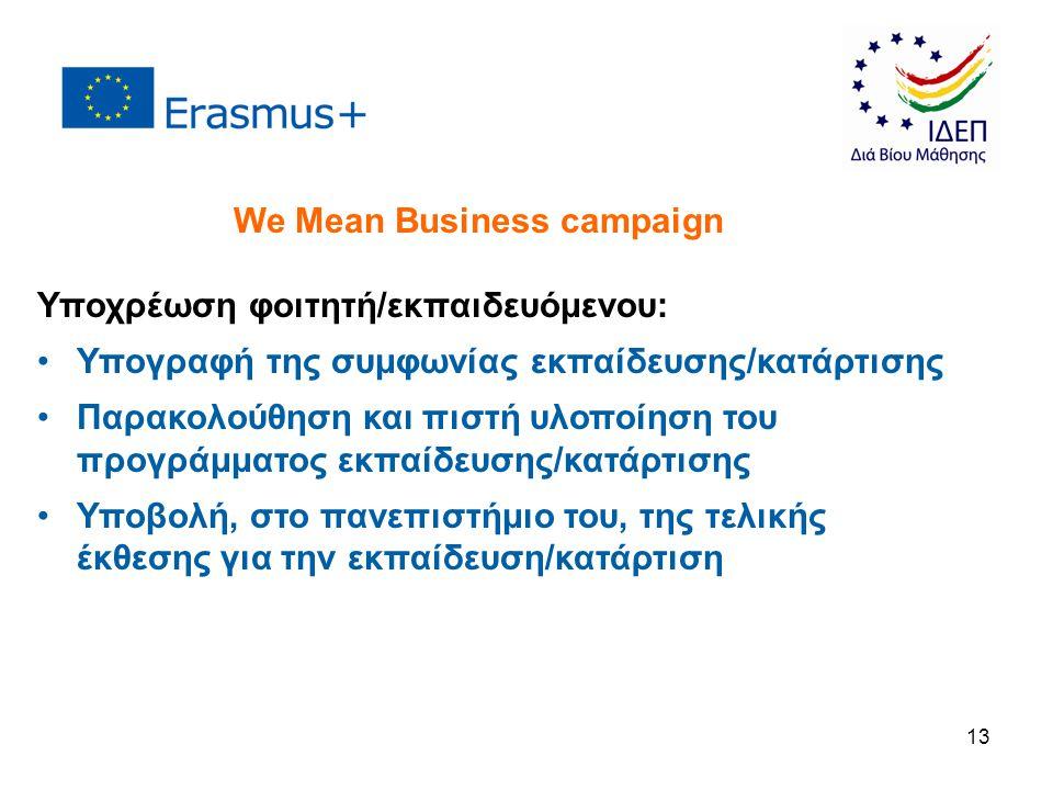 13 Υποχρέωση φοιτητή/εκπαιδευόμενου: Υπογραφή της συμφωνίας εκπαίδευσης/κατάρτισης Παρακολούθηση και πιστή υλοποίηση του προγράμματος εκπαίδευσης/κατάρτισης Υποβολή, στο πανεπιστήμιο του, της τελικής έκθεσης για την εκπαίδευση/κατάρτιση We Mean Business campaign
