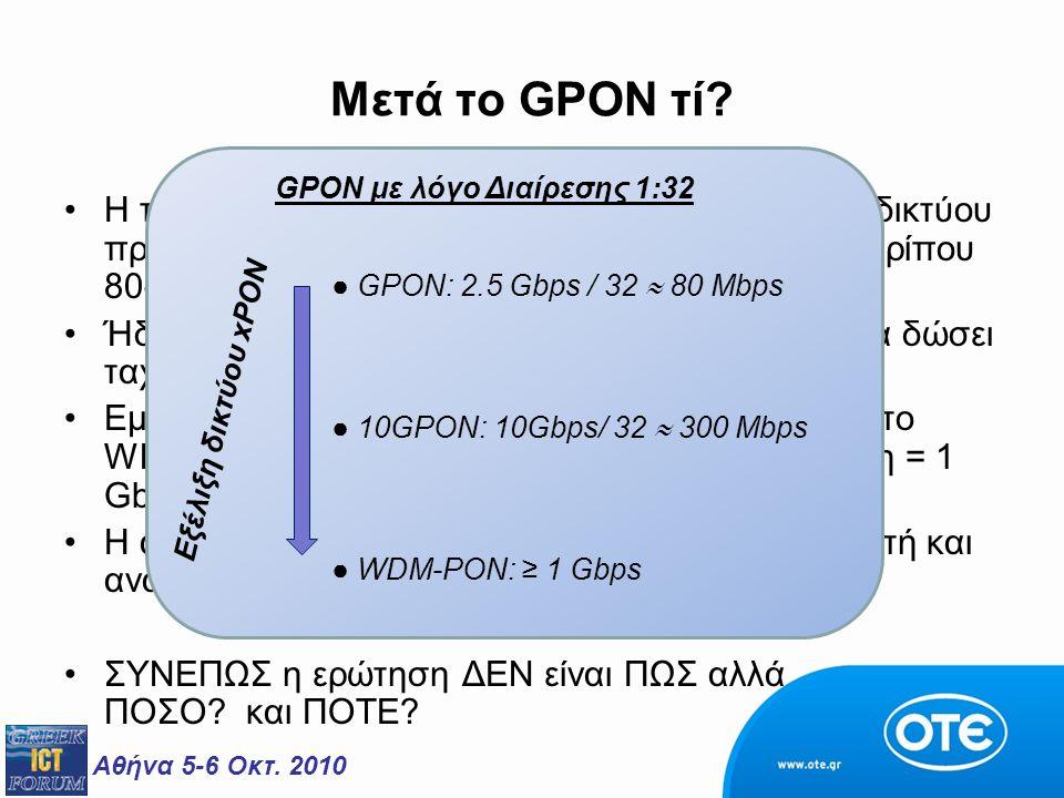 """Αθήνα 5-6 Οκτ. 2010 Μετά το GPON τί? H ταχύτητα πρόσβασης του FTTH-P2MP-GPON δικτύου πρόσβασης με λόγο """"μοιράσματος"""" [1:32] είναι περίπου 80-100 Mbps."""